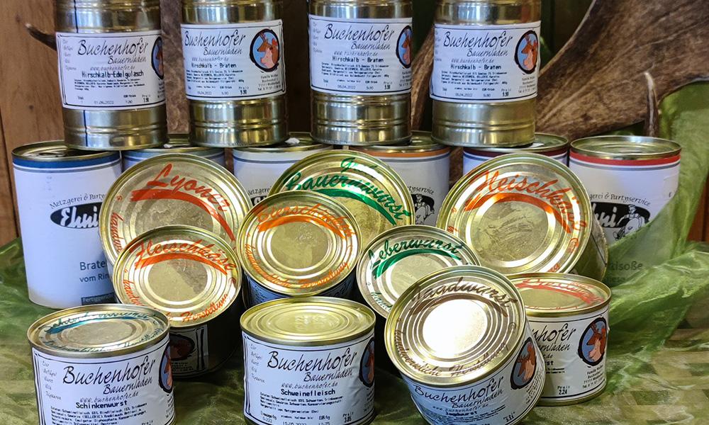 Dosenfleisch und -wurst vom Buchenhofer Bauernladen